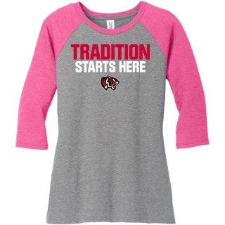 DISTRICT MADE LADIES PERFECT TRI 3/4 SLV RAGLAN