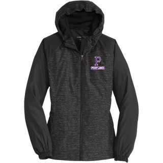 LADIES HEATHER CLRBLCK HOOD WIND JACKET