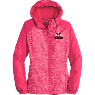 Sport-Tek Ladies Heather Colorblock Raglan Hooded Wind Jacket